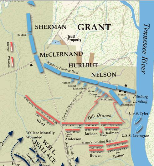 Partial Map, Battle of Shiloh