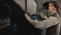 "Fun Fact: Sam Heughan (Jaime) likes the horses he rides in the show a lot. I think the horse in this scene is his favorite--""Sleepy"". He has mentioned him in interviews and on his Twitter account. Another horse that he rides in the show is a bit more energetic and tends to drool on him and bite him. The nippy horse's name is Pinocchio"