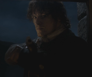 Jamie, always the frigging hero busts in to save the day and to keep his promise to Claire