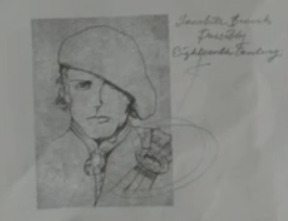 """Jamie's modern wanted poster, note the handwriting that says """"Jacobite brooch, possibly 18th Century"""""""